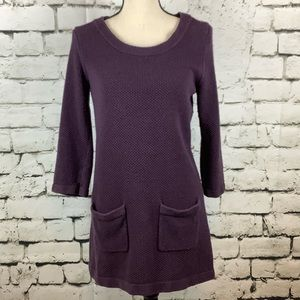 Boden Purple Sweater Dress Front Pockets Size 8